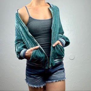 American Eagle Velvet Bomber zip up jacket size L